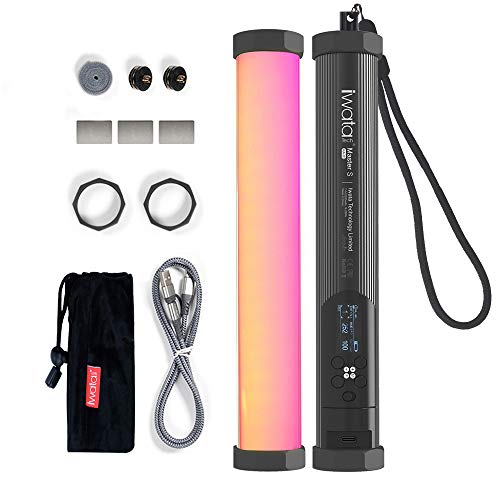 Iwata Master S RGB LED-Videoleuchte Stick, 5-Farben-Lichtmaschine, 6W 2000K~10000K Einstellbar, CRI 96+ TLCI 98+, 7 Szenen und 21 Effekte, OLED-Bildschirm, Unterstützung APP/Fernbedienung