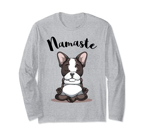 Namaste French Bulldog Yoga Design Dog Lover Frenchie Yoga Long Sleeve T-Shirt
