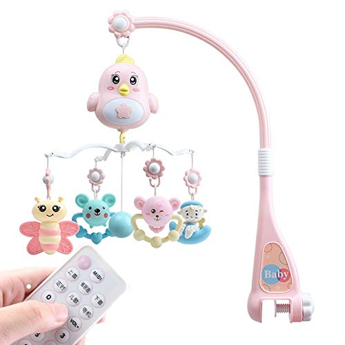 Baby van Mobile Voor Crib Mobiles 3 in 1, Musical Mobile kinderbedje Decoration Toy Opknoping Rotating Bell Met Melodies Dual Purpose,Pink