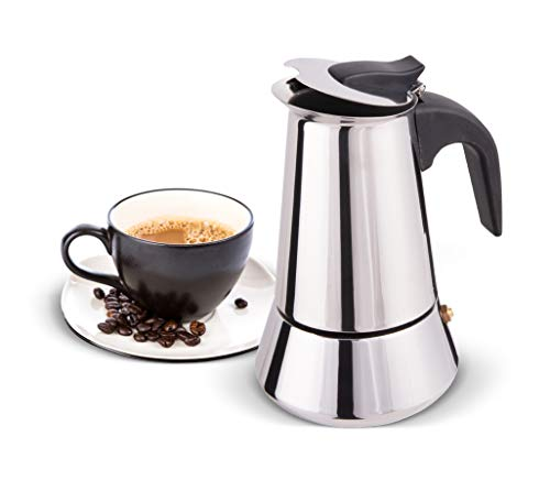 Biggcoffee - Cafetera italiana, cafetera clásica para cafetería de acero inoxidable, apta para cocinas de inducción, cafetera de 4 tazas de 200 ml (plata y negro)