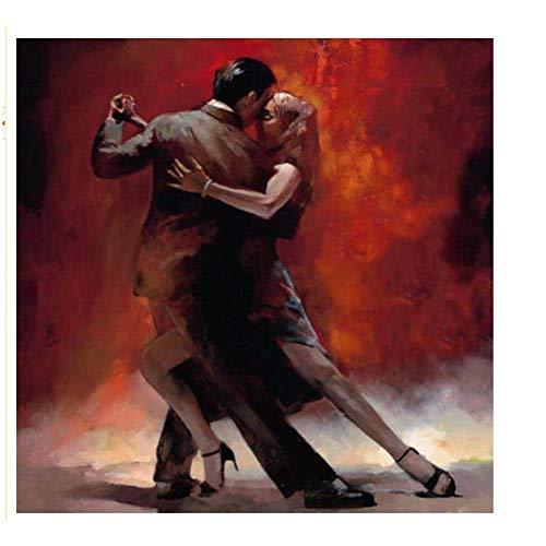 YaShengZhuangShi Leinwanddruck Paar tanzendes Öl keuchend Gemälde im nordischen Stil tanzende Tänzerfigur Wandkunstgemälde Für Wohnwanddekor 80x80cm, kein Rahmen