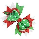 Forbestest 10pcs / Set Dot Grossgrain Cinta Cola del Trago del Clip Hairbow Bowknot Pasador de Horquilla del Pelo del Arco de Navidad