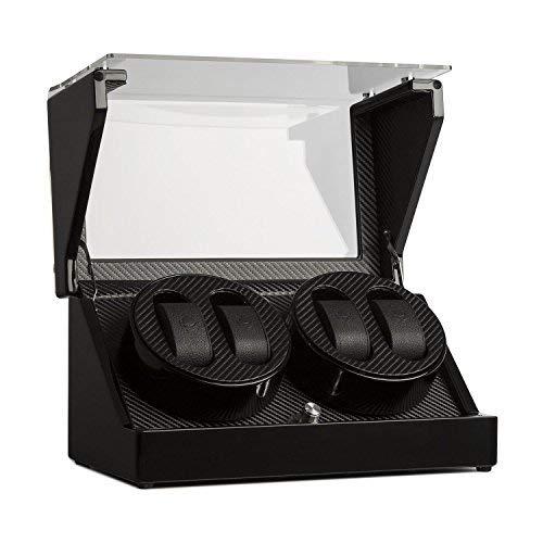 Klarstein CA2PM - Custodia orologi, Watches winder, 4 orologi automatici x, 4 modalità di movimento, Rotazione destra/sinistra, Liscia, Laccato, Potenza e funzionamento batteria, nero