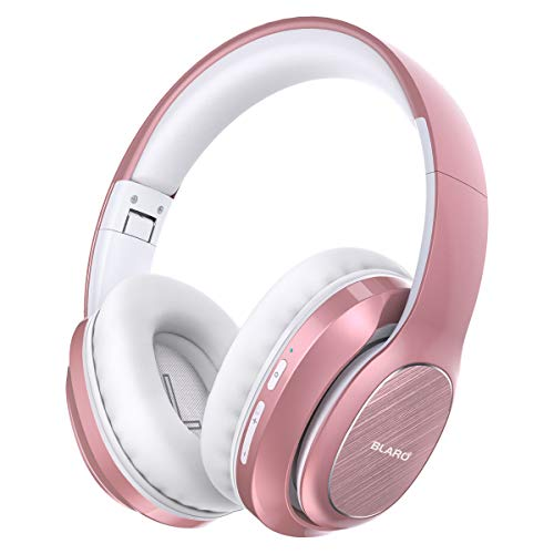 BLARO Bluetooth Headphones Over Ear, Hi-Fi Deep Bass Wireless and Wired Headsets, 72 Hours Playtime, Soft Memory Protein Earmuffs, Foldable Headphones with CVC6.0 Mic-Rose Gold