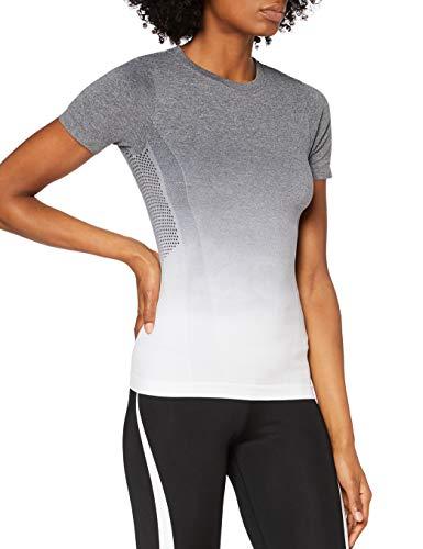AURIQUE Top de Deporte sin Costuras Mujer, Negro (Ombre negro)., 36, Label:XS