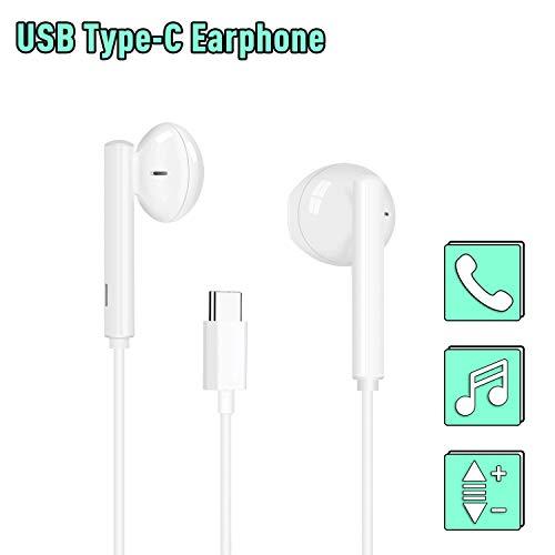 USB Typ C Kopfhörer, MoYaGoa In-Ear USB C Kopfhörer, Typ C Stereo Ohrhörer, Hände frei Audio Headset, Kabel-Headset mit Fernbedienung und Mikrofon kompatibel mit Huawei,Google Pixel,HTC,Sony etc.