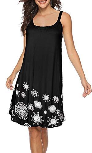 BOCOTUBE Womens Summer Floral Print Sleeveless Casual Beachwear Loose T Shirt Dress