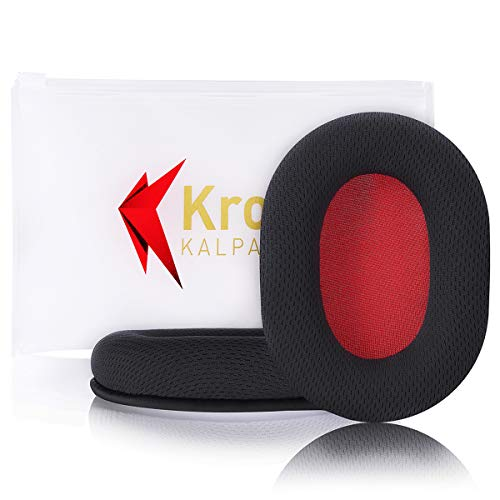 Krone Kalpasmos Earpads Replacement for Turtle Beach-Stealth/ATH -M/Sony/SteelSeries/Sennheiser and Many Large Over Ear Headphones, Made of Breathable Fabric & Memory Foam-Red