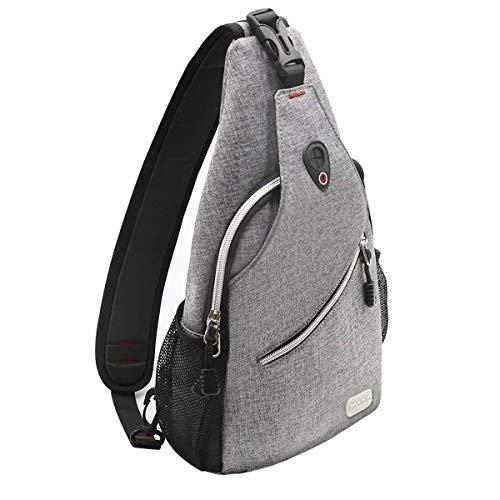 MOSISO Sling Backpack, Multipurpose Crossbody Shoulder Bag Travel Hiking Daypack, Gray