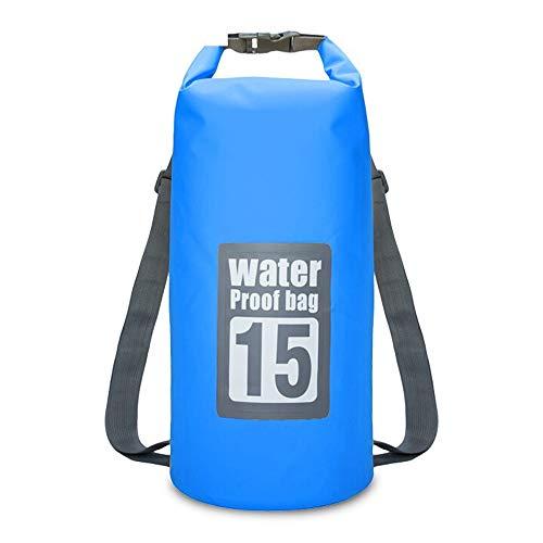 Outdoor MFC 15L dubbele schouderrugzak, waterdicht, gelaste tas, strandtas, snorkelrugzak, geel/blauw/zwart