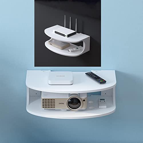 PCJMNYKF Staffa per Montaggio a Parete Box TV Set-Top Box Modem Cable Box per Componenti TV Console Multimediale a Parete in Metallo 2 Livelli per Decoder Via Cavo/Router/telecomandi Ripiani