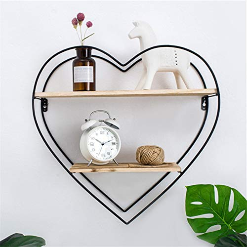 Floating Shelf Heart-shaped Iron Wooden Bookshelf Wall-Mounted Display Rack Vintage Style for Home Decor Storage Organizer -Unique Shelf