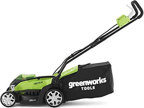 Greenworks Tondeuse à batterie G40LM35K2X (Li-Ion 40V 35cm largeur coupe jusqu'à 500m² 2en1...