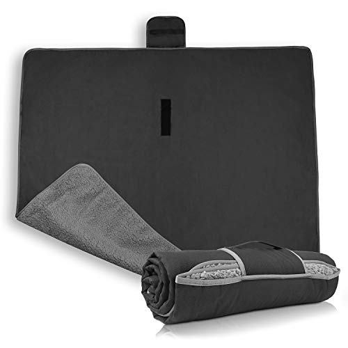 Waterproof Outdoor Blanket with Sherpa Lining, Windproof Triple Layers Warm Comfy Foldable...