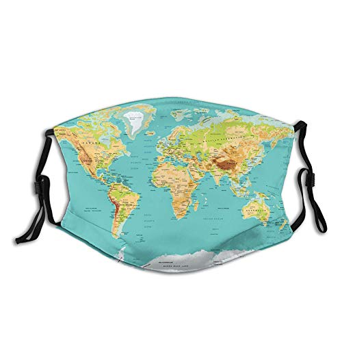 Comfortable Windproof Face cover, Map of The World Geography Continents and Countries Physical Cartography Image,Printed Facial Decorations for unisex