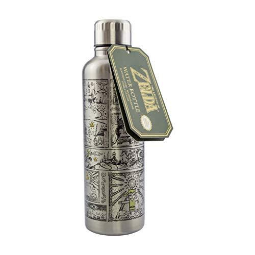 Paladone Botella de agua unisex, basada en la serie Legend of Zelda, diseño de tapa a prueba de derrames y fugas, perfecto para la escuela, oficina, trabajo, al aire libre, plata, 500 ml