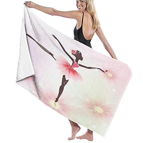 WOTAKA Toallas de baño,de Playa,Niñas Ballet Ballerina Dancer Falda Floral afroamericana Rosada Arte gimnástico,Muy Absorbente y Suave para Yoga, Fitness, Camping y Deportes al Aire Libre.