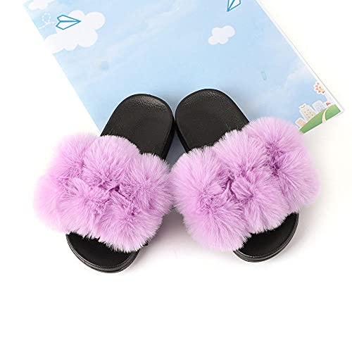 COQUI Slippers Mujer casa,Zapatillas de Verano para niños Limpiadores de Pieles para niños Inicio Niño Padre-Niño Baño Antideslizante-púrpura_30/31