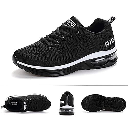 Calzado Deportivo para Hombres y Mujeres Calzado para Correr Zapatillas con amortiguación de Aire Zapatillas para Caminar al Aire Libre Blanco Negro 41