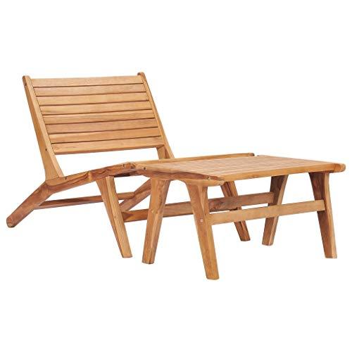 vidaXL Teak Massiv Gartenstuhl mit Fußablage Verstellbare Rückenlehne Holzstuhl Liegestuhl Deckchair Relaxstuhl Gartenmöbel Stuhl Gartenliege