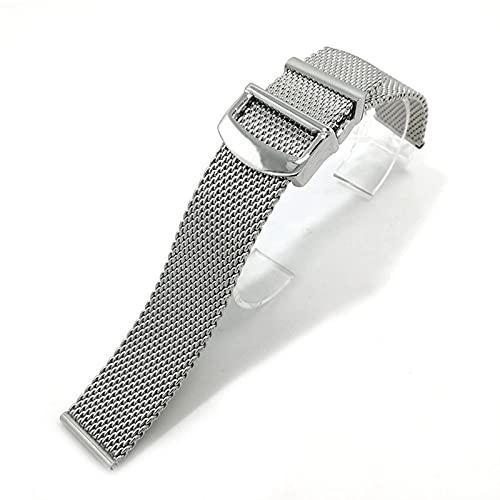 RVTYR Reloj Correa, Accesorios de Reloj Correa de Metal Correa de Acero Inoxidable Pulsera Ajustable Correas de Repuesto (Color : 20mm, Size : Silver)