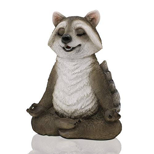 Gooedeco Meditating Zen Yoga Raccon Figurine Garden Ornament-Indoor/Outdoor Garden Raccon Statue Sculpture for Home,Garden,Patio,Deck,Porch Yard Art or Lawn Decor,21.5cm(Raccoon)