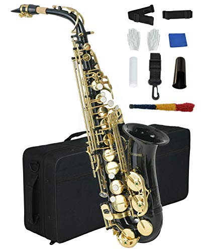 LAGRIMA Bb Alto Saxophone Beginners Kit,B Flat Tenor Saxophone With Carrying Case, 10 Reeds, Mouthpiece, Neck Strap, Gloves & Cleaning Cloth Rod for Students,Beginners & Adults(Black)
