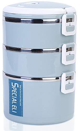 Lunch box isolato Bento Box impilabile in acciaio inossidabile Contenitori porta pranzo per scuola per bambini e ufficio per adulti (blu, 3 livelli)