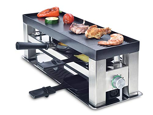 Solis Grill 4 in 1, Raclette/Tischgrill/Wok/Crêpes, 3 Personen, Edelstahl, Table Grill 4 in 1 (Typ 790)