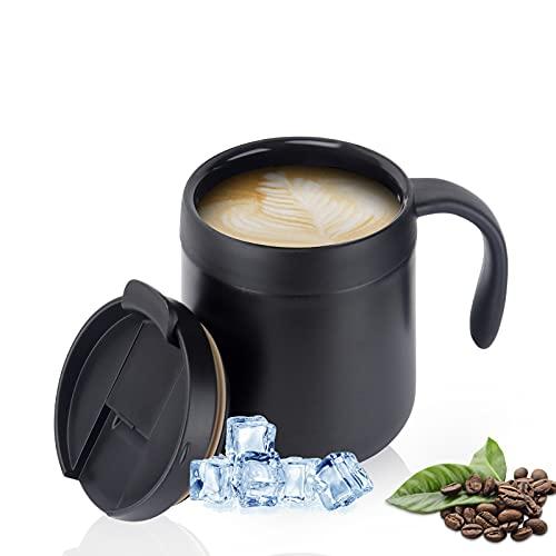 CS COSDDI Camping Kaffeebecher Thermo Doppelwandiger- 350ml Edelstahl Trinkbecher mit Henkel & Deckel Vakuum Thermobecher für Büro - Paßt unter die meisten Kaffeevollautomaten (Schwarz)