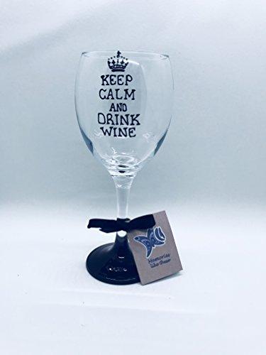Fantaisie 'Keep Calm and Drink Wine' 340 ml Verre à vin peint à la main par Memories-like-these Verre à vin Inscription Royaume-Uni