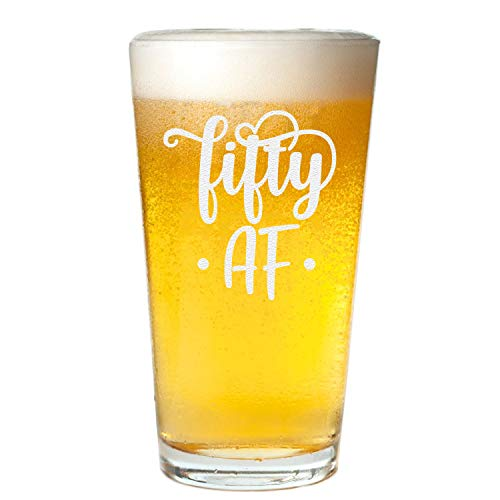 Veracco Fifty AF 50 Years Beer Glass Pint 50th BirthdayGift For Him Her Fifty and Fabulous (Clear, Glass)