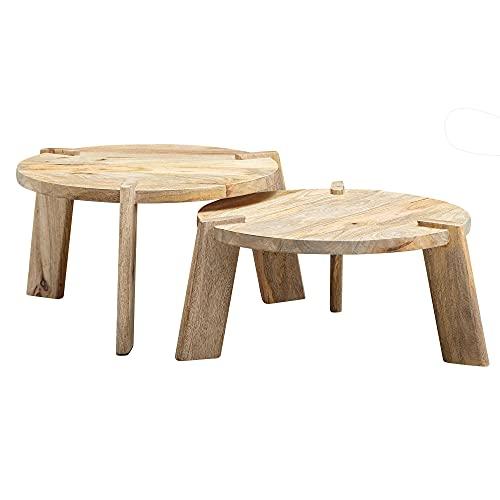 FineBuy Design Couchtisch 2er Set Mango Massivholz Wohnzimmertisch Hell | Satztisch Holztisch Rund Beistelltisch | Tischset 2-teilig Kaffeetisch Holz