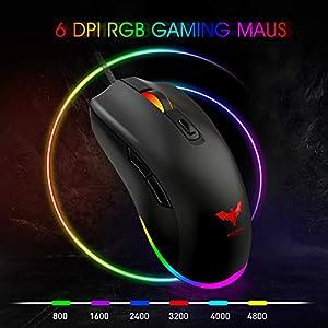 havit Gaming Tastatur und Maus Set, LED Hintergrundbeleuchtung QWERTZ (DE-Layout), 7 Tasten Gaming Maus mit 4 LEDs als Beleuchtung (800/1200 / 1600/2400 DPI einstellbar) (Black-Schwarz)