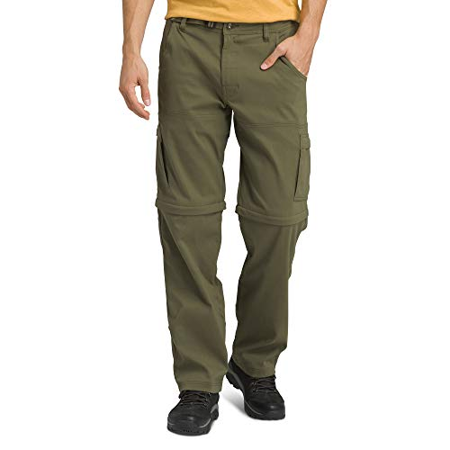 prAna Men's Standard Stretch Zion Convertible, Cargo Green, 35W x 30L