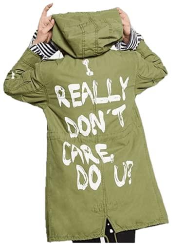 HiFacon Chaqueta de algodón con capucha I Really Don't Care Do You con estampado de capa de carga de color verde oliva Melania, Cotton - I Dont Care Coat, L