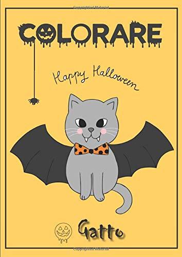 Colorare - Gatto: Libro da colorare di Halloween con gatti carini.