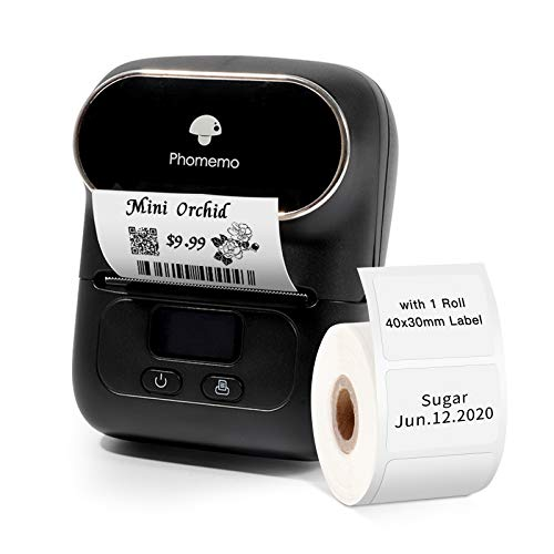 Phomemo-M110 Label Maker - Portable Bluetooth Thermal Label Maker Printer for Clothing, Jewelry, Retail, Mailing, Barcode, Compatible with Android & iOS System, with 1pack 40×30mm Label,Black