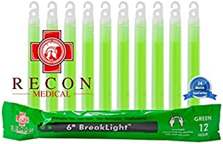 10 Pack (GREEN) Tactical BreakLights- Recon Medical 6 Inch Ultra Bright First Aid Kit Hexagon Shape Ultra Bright Glow Stic...