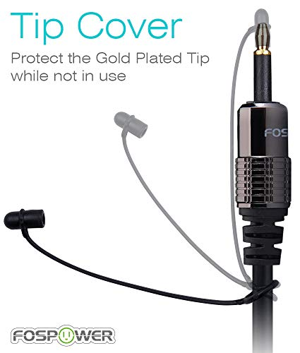FosPower (3 Feet, 2 Pack) 24K Gold Plated Toslink to Mini Toslink Digital Optical S/PDIF Audio Cable with Metal Connectors & Strain-Relief PVC Jacket