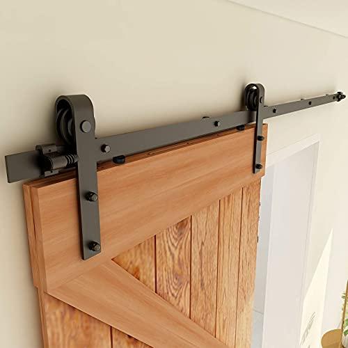 CCJH 6ft Sliding Barn Door Hardware Kit Heavy Duty Track Hanger Set for Single Wood Door (J Shape)