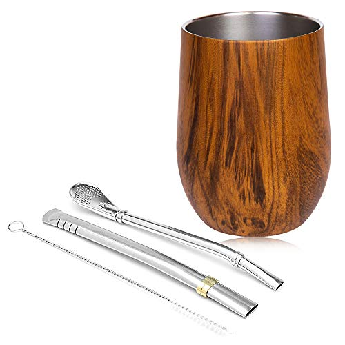 MadGoods Kit de Mate Argentino con 2 Bombillas y Cepillo de Limpieza - Acero Inoxidable con Efecto Termo Calor Frío - Vaso Térmico para Bebidas Calientes Apto para Lavavajillas 355ml (Madera Oscura)