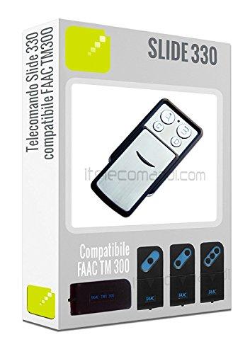 Telecomando Slide330 - 4 tasti 330 Mhz) compatibile con tutta le serie Faac TM300 e T300 (TM1 300, TM2 300 ecc.)