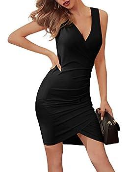 VETIOR Women Sleeveless Homecoming Dresses Deep V Neck Bodycon Wrap Front Slit Black