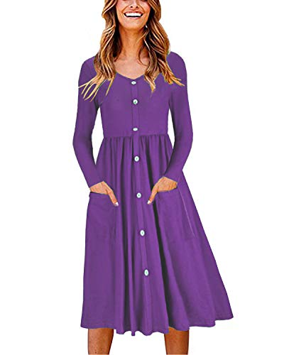 OUGES Women's Long Sleeve V Neck Button Down Midi Skater Dress with Pockets(Purple,L)