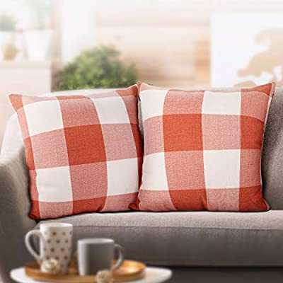 Leafbay Buffalo Check Throw Pillow Covers – Set of 2 Farmhouse Decorative Pillowcases for Home Decor, Sofa, Bedroom, Car, 100% Linen Cushion Case with Plaids on Both Sides, 18 x 18 Inch - 【Premium Quality】 Made of 100% Linen fabric, the pillow covers are durable with plaids on both sides, providing you with a natural tactile feel. 【Invisible Zipper Design】 The hidden zipper is sewed with neat stitches of high-quality workmanship, making it easy to remove or stuff a pillow. 【Various Colors & Sizes】 There are 3 sizes for you, 16 x 16 inch (40*40cm), 18 x 18 inch (45*45cm), and 20 x 20 inch (50*50cm). And it comes with 4 color options, Black and White, Red and Black, Gray and White, Orange and White. - living-room-decor, living-room, home-decor - 414ctIxRQ8L. SS400  -