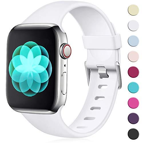 Maledan Compatibile per Cinturino Apple Watch 44mm 42mm, [Classica Fibbia] Morbido Cinghia di Ricambio Regolabile in TPU per Apple Watch Series 5/4/3/2/1 M/L Bianco