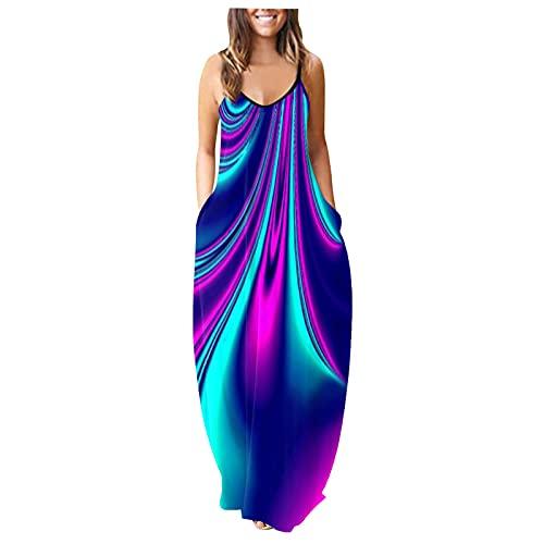Lalaluka Vestido de verano para mujer, largo, sexy, con tirantes, floral, para la playa marine M-36/38/40