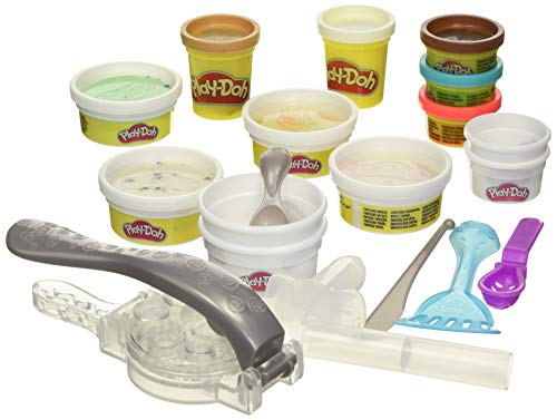 Play-Doh Kitchen Creations Rollzies Rolled Ice Cream Set with 4 Cans of Play-Doh Color Burst Compound Plus 5 Additional Non-Toxic Colors