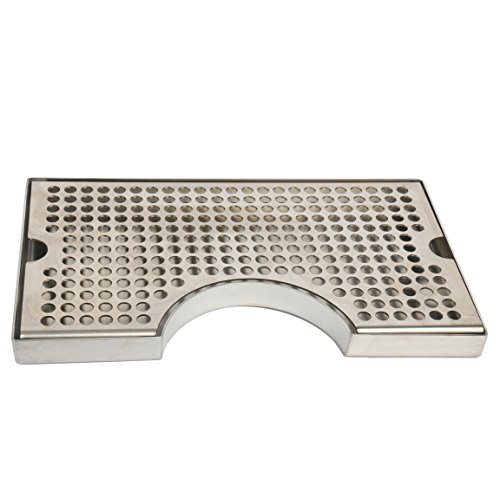 YaeBrew 12' Surface Mount Kegerator Beer Drip Tray Stainless Steel Tower Cut Out No Drain